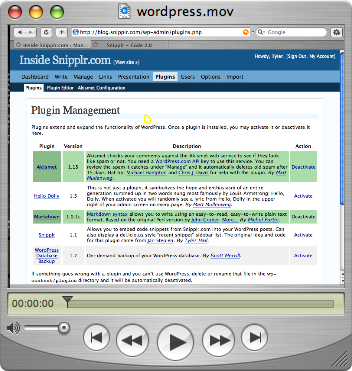 WordPress screencast